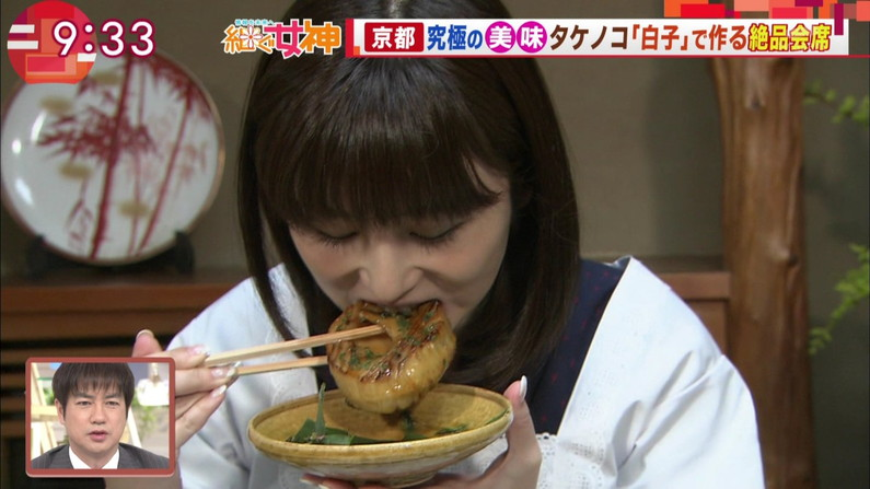 【疑似フェエラキャプ画像】女子アナ達がエロい顔を茶の間にお届けする食レポww 12