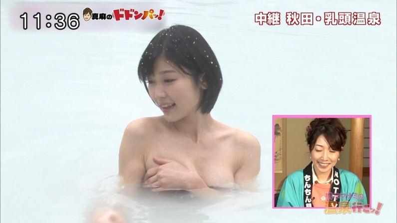 【温泉キャプ画像】温泉レポ見てるとやっぱりバスタオルからはみ出る乳房って気になるよなw
