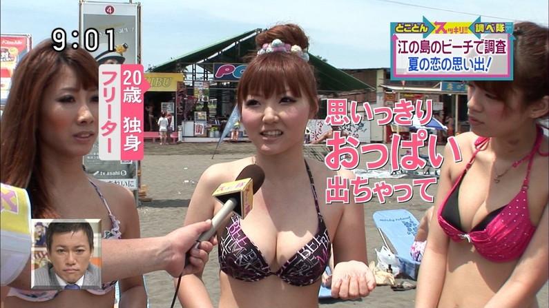 【水着キャプ画像】乳首さえ見えてなかったらOKな巨乳タレント達の水着オッパイがエロすぎW 17