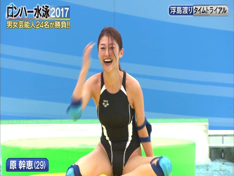 【お宝キャプ画像】ロンドンハーツの水泳大会で競泳水着が食い込みまくってやばいことにww 15