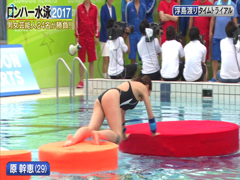 【お宝キャプ画像】ロンドンハーツの水泳大会で競泳水着が食い込みまくってやばいことにww 20