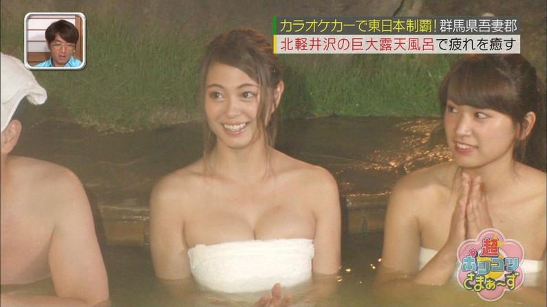 【温泉キャプ画像】温泉レポでやらしく巨乳の谷間見せつけるタレント達w 16