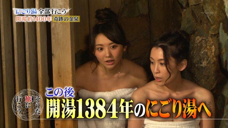 【温泉キャプ画像】巨乳タレントのハミ乳がエロい温泉レポww 24