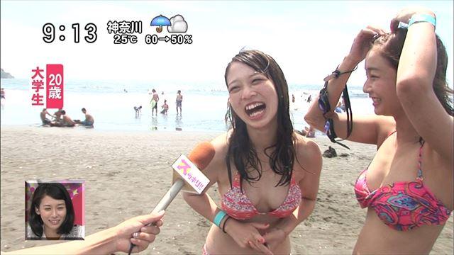 【水着キャプ画像】今年もこの光景が見れるのはもぉ間近wテレビに映されたエロい水着の素人達w 07