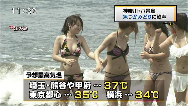 【水着キャプ画像】今年もこの光景が見れるのはもぉ間近wテレビに映されたエロい水着の素人達w 08