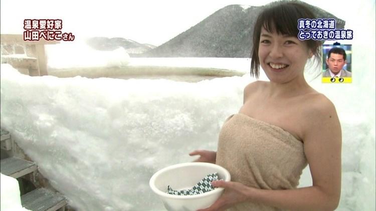 【温泉キャプ画像】ここまでオッパイ見えてたらやっぱりポロリ期待する温泉レポw 24