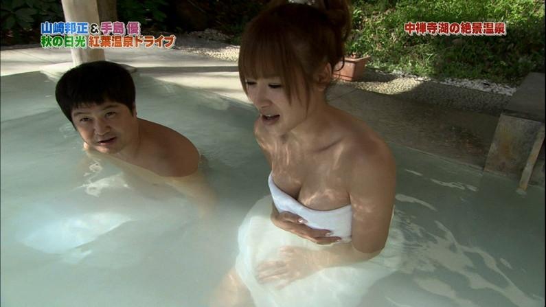 【温泉キャプ画像】温泉レポしてるタレント達のオッパイがやばいww 11