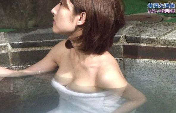 【温泉キャプ画像】美女のエロい入浴シーンが見れるから旅番組は見逃せないよなww 03