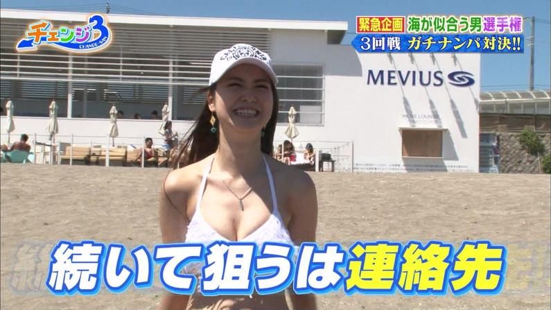【水着キャプ画像】もぉそろそろ見納めのテレビに映った激エロ素人の水着姿w 03