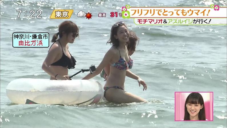 【水着キャプ画像】もぉそろそろ見納めのテレビに映った激エロ素人の水着姿w 11