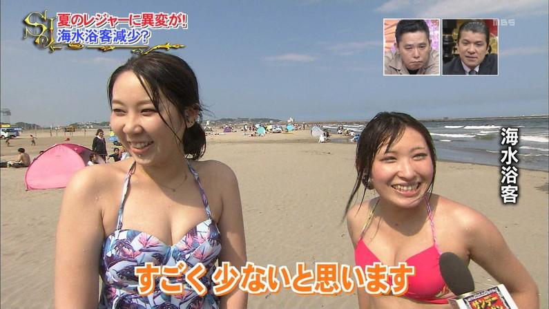 【水着キャプ画像】もぉそろそろ見納めのテレビに映った激エロ素人の水着姿w 17