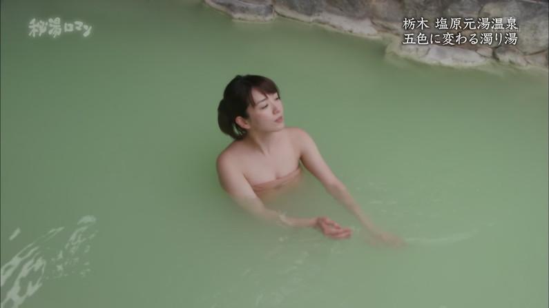 【温泉キャプ画像】テレビに映る美女達の入浴シーンがハミ乳し過ぎてエロww 07