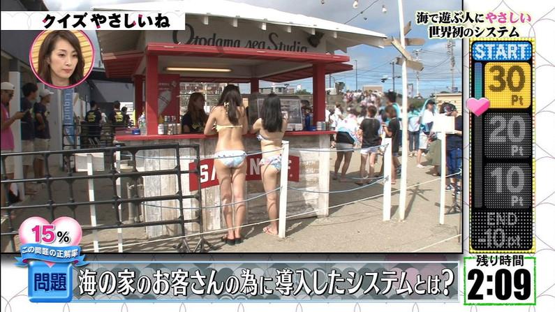 【お尻キャプ画像】テレビに映る水着美女達のハミ尻がエロすぎてヤバイww 23