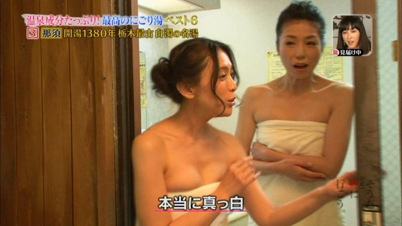 【温泉キャプ画像】こんな巨乳タレントと一緒に混浴したら絶対勃起する自信ありますw 17