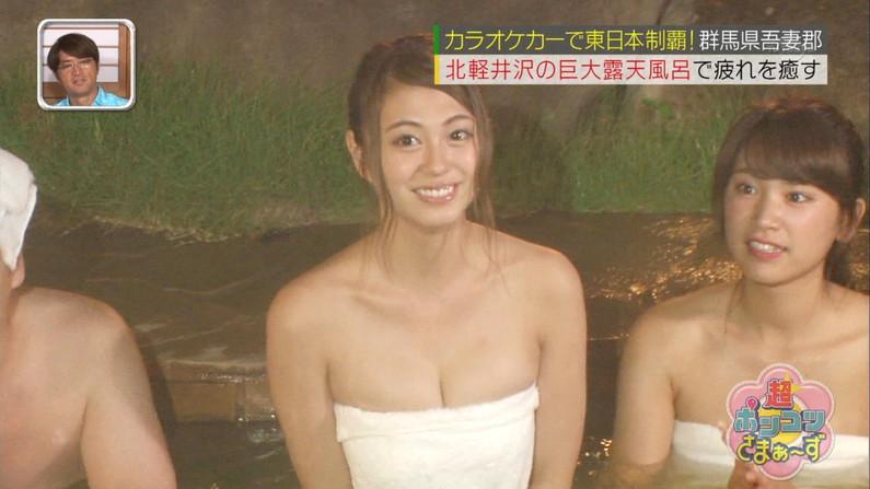 【温泉キャプ画像】こんな巨乳タレントと一緒に混浴したら絶対勃起する自信ありますw 24