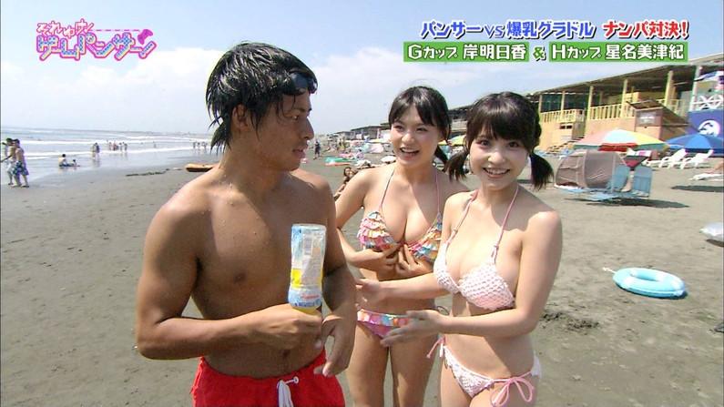 【水着キャプ画像】タレント達の水着姿がオッパイ曝け出しすぎでヤバイw 16