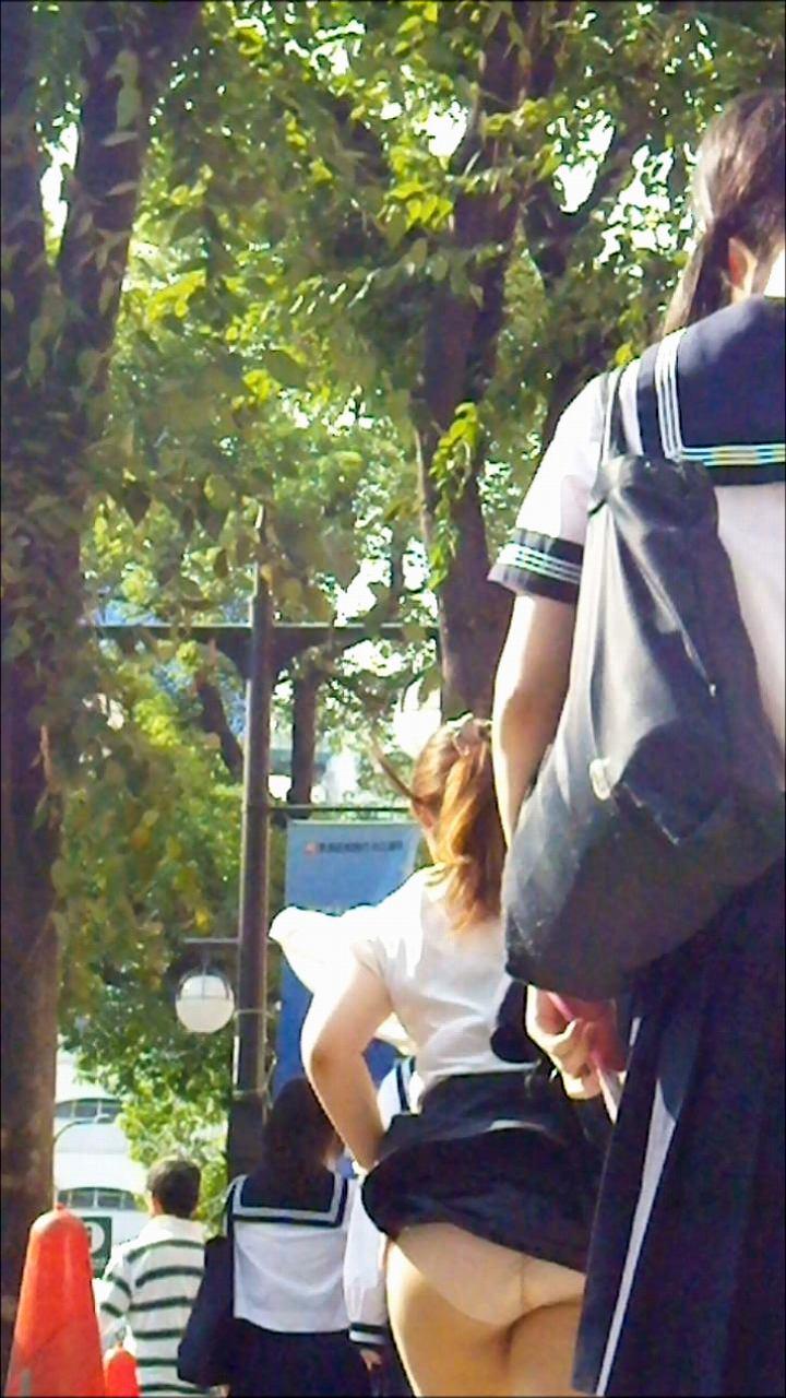 【パンチラハプニング画像】一瞬の突風でスカートめくれ上がっちゃった素人美女達w 05