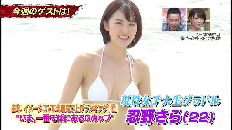 【水着キャプ画像】ポロリ期待値MAXな巨乳タレント達のビキニ姿ww 01