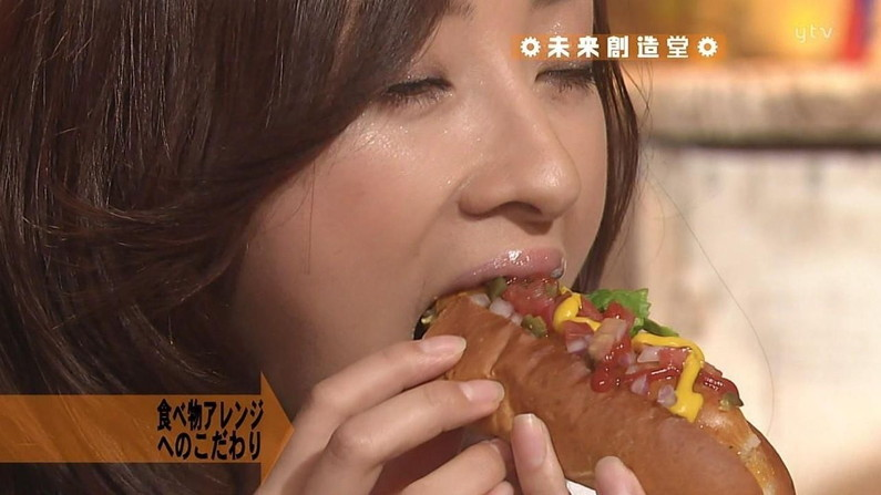 【疑似フェラキャプ画像】狙ってなのか、エロい顔で食レポするタレント達w 10