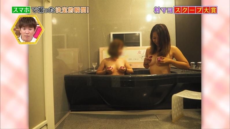 【温泉キャプ画像】いつポロリしてもおかしくないくらいギリギリにバスタオル巻いて温泉レポするタレント達w 04