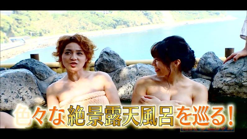 【温泉キャプ画像】いつポロリしてもおかしくないくらいギリギリにバスタオル巻いて温泉レポするタレント達w 08