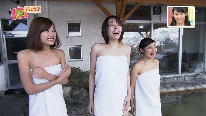 【温泉キャプ画像】必ずと言っていいほど温泉番組で巨乳アピールしてくるタレント達w 10