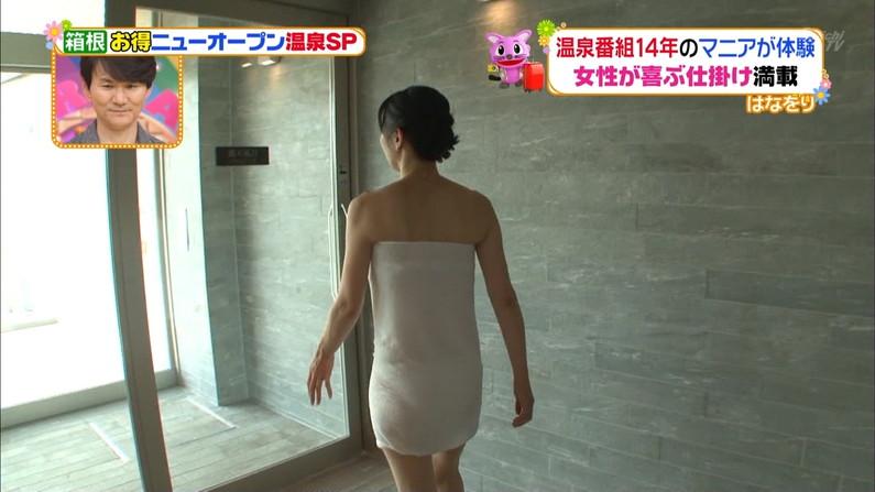 【温泉キャプ画像】エロ目線でしか見れないハミ乳させながら温泉レポするタレント達w 01