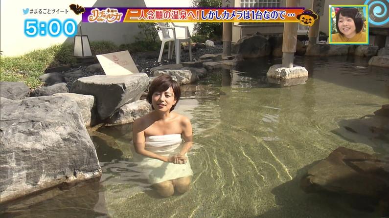 【温泉キャプ画像】エロ目線でしか見れないハミ乳させながら温泉レポするタレント達w 19