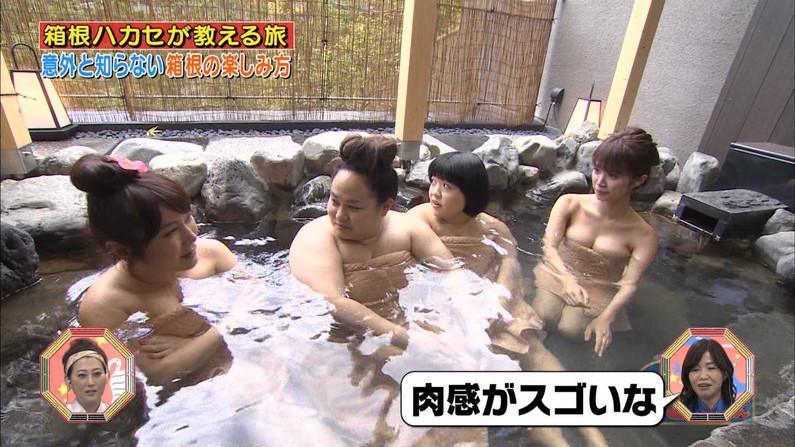 【温泉キャプ画像】バスタオルからのハミ乳がやらしいタレント達の温泉レポw 12