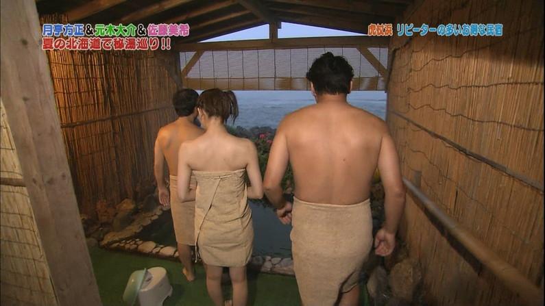 【温泉キャプ画像】バスタオルからのハミ乳がやらしいタレント達の温泉レポw 16