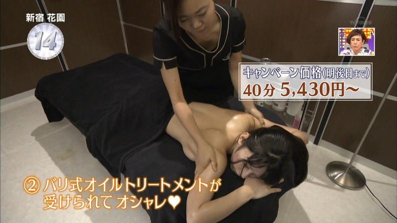 【エステキャプ画像】上半身スッポンポンでマッサージされてるタレント達がテレビに映されるw 01