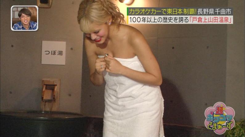 【温泉キャプ画像】温泉レポしてる巨乳のタレント見てるとバスタオルはぎ取りたくなるよなw