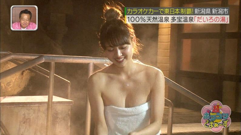 【温泉キャプ画像】温泉レポしてる巨乳のタレント見てるとバスタオルはぎ取りたくなるよなw 07