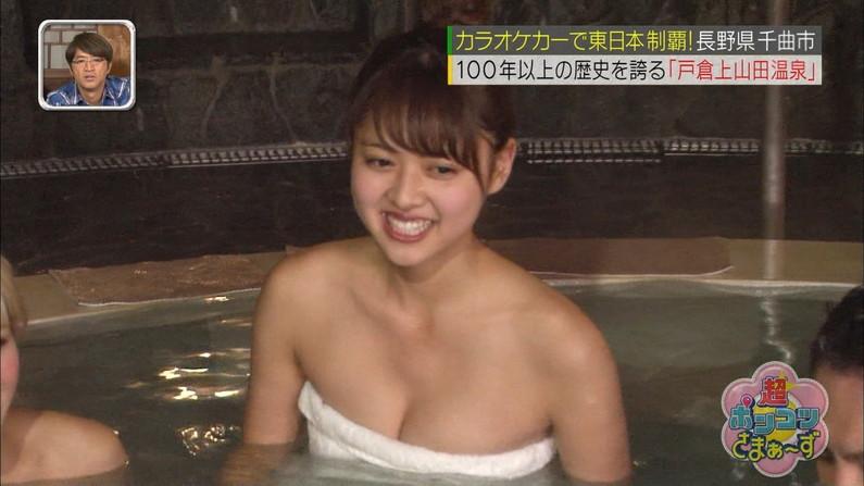 【温泉キャプ画像】温泉レポしてる巨乳のタレント見てるとバスタオルはぎ取りたくなるよなw 09