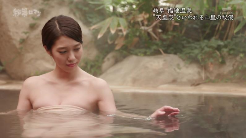 【温泉キャプ画像】温泉レポするタレント達の巨乳がバスタオルからはみ出しすぎww 10