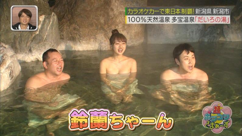【温泉キャプ画像】温泉レポするタレント達の巨乳がバスタオルからはみ出しすぎww 13