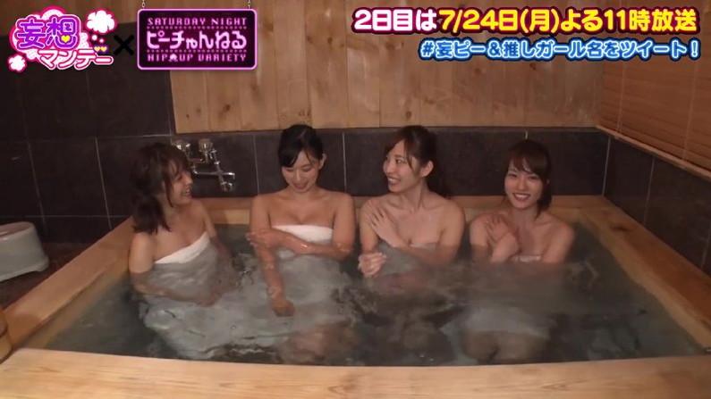 【温泉キャプ画像】温泉レポするタレント達の巨乳がバスタオルからはみ出しすぎww 19