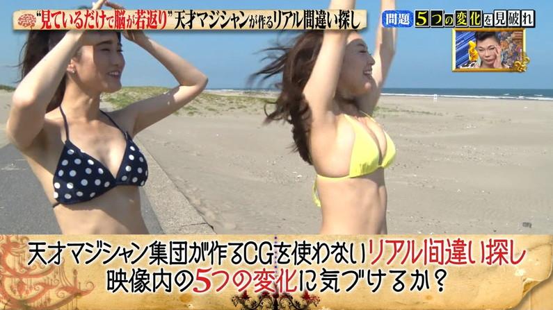 【水着キャプ画像】水着からはみ出すオッパイがエロい巨乳タレント達w 10