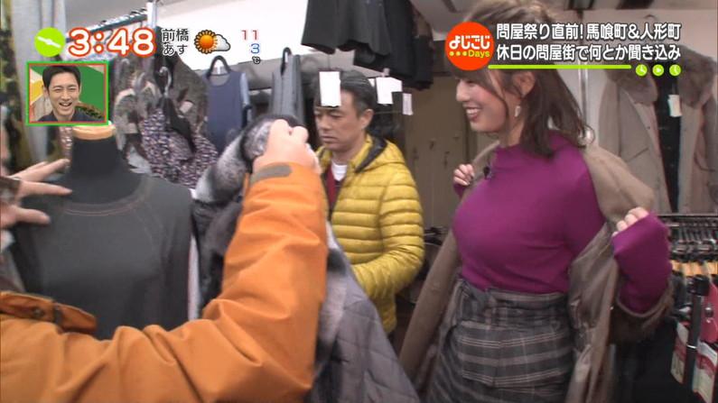 【着衣オッパイキャプ画像】冬の期間しか見れないニットセーターで浮き彫りになるタレント達の巨乳w