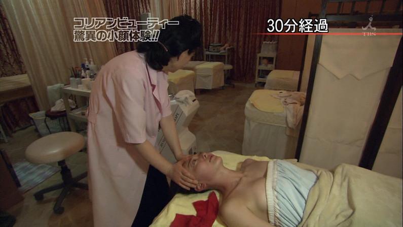 【エステキャプ画像】エステシーンで美人タレント達のハミ乳が映りまくりw 09