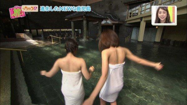 【温泉キャプ画像】ハミ乳しながら温泉レポするタレント達ってエロいよなwww 24