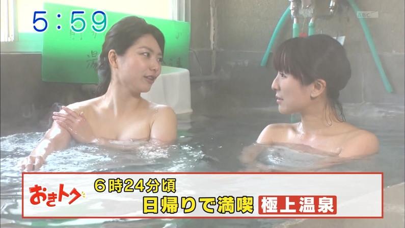 【温泉キャプ画像】女子アナまでもがエロい谷間見せながら温泉レポしちゃってるぞww 01