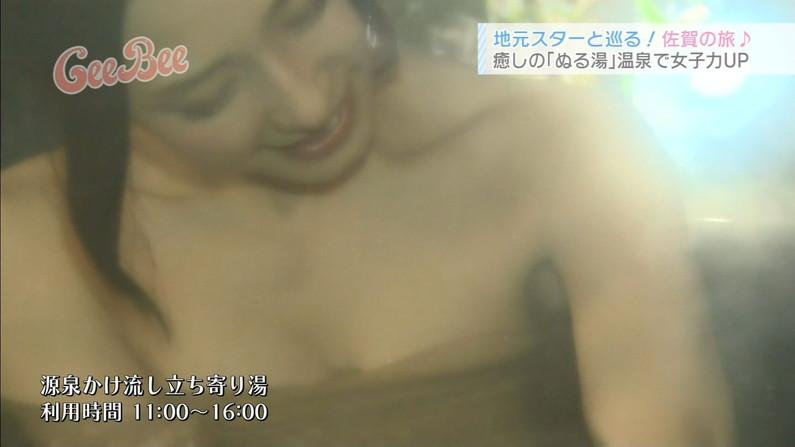 【温泉キャプ画像】ハミ乳し過ぎなタレント達の温泉レポがエロすぎww 06