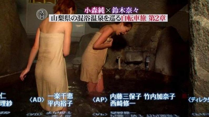 【温泉キャプ画像】タレント達のポロリ寸前までオッパイ出してる温泉レポエロすぎw 03