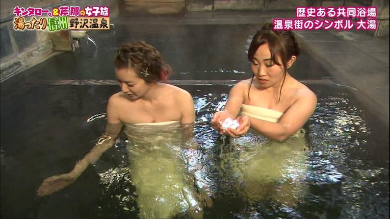 【温泉キャプ画像】タレント達のポロリ寸前までオッパイ出してる温泉レポエロすぎw 09