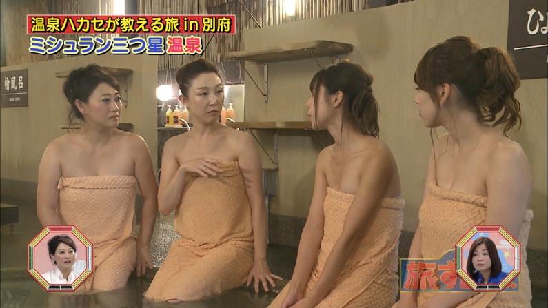 【温泉キャプ画像】もぉちょっとバスタオル下げてほしい巨乳タレントの温泉レポw 11