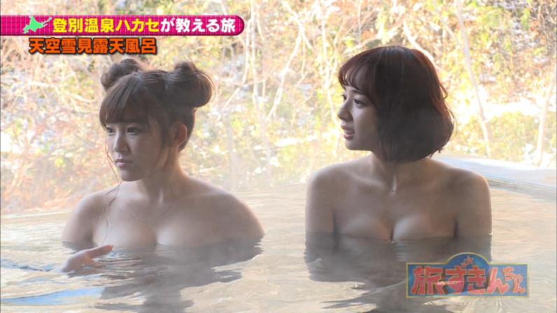 【温泉キャプ画像】人気アイドルまでがバスタオル一枚でテレビに出て温泉レポしてるぞw 23