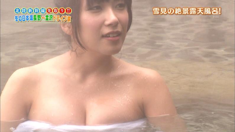 【温泉キャプ画像】谷間がエロすぎるタレントさん達の温泉レポww 01