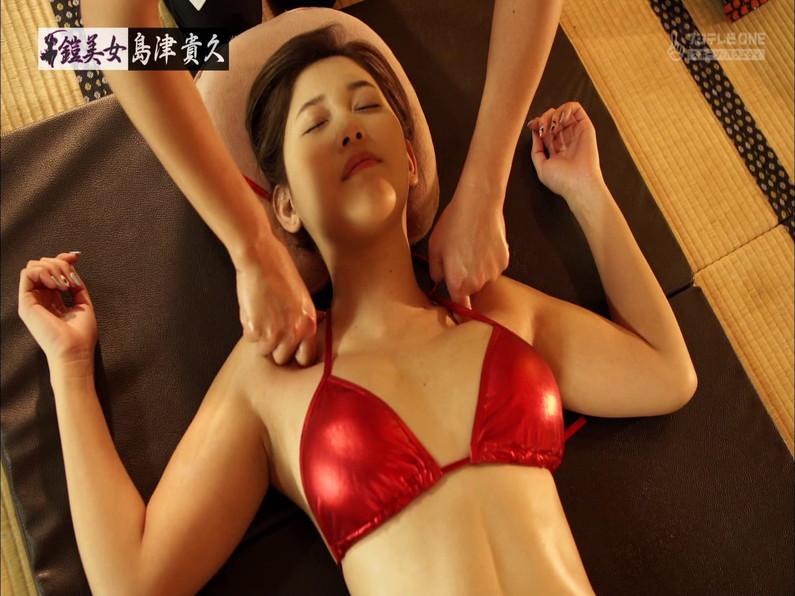 【水着キャプ画像】鎧美女とか言う番組で鎧の中から巨乳のビキニ着た美女が現れたw 18
