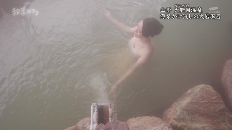 【温泉キャプ画像】絶対にポロリ期待してしまう巨乳タレント達の温泉レポw 05